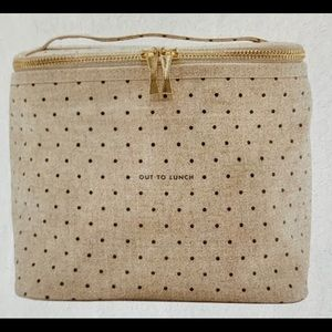 Kate Spade Insulated  Lunch Tote Dots Gold Zip